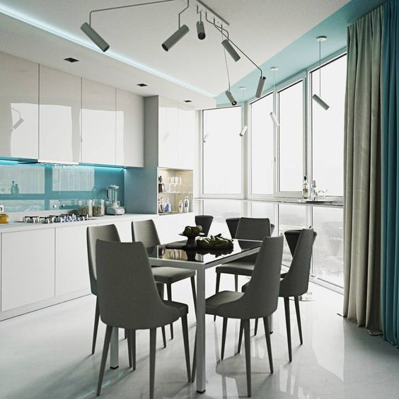 kitchen, white seamless floor, glossy white upper and bottom cabinet, blue backsplash with LED light, modern pendant, white ceiling