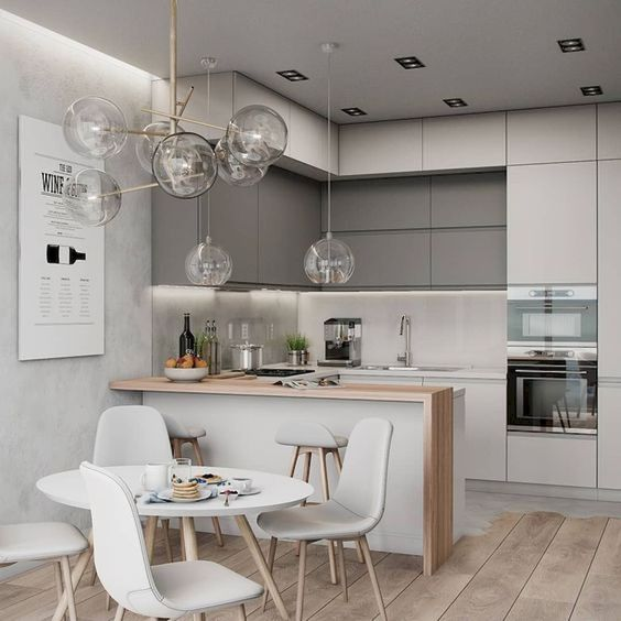 kitchen, wooden floor, grey wall, grey cabinet, dark grey upper cabinet, wooden top kitchen table, white modern dining set