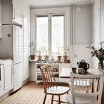 Kitchen, Wooden Floor, White Cabinet, White Wainscoting, White Wall, Wooden Table, Wooden Chairs, White Wooden Shelves