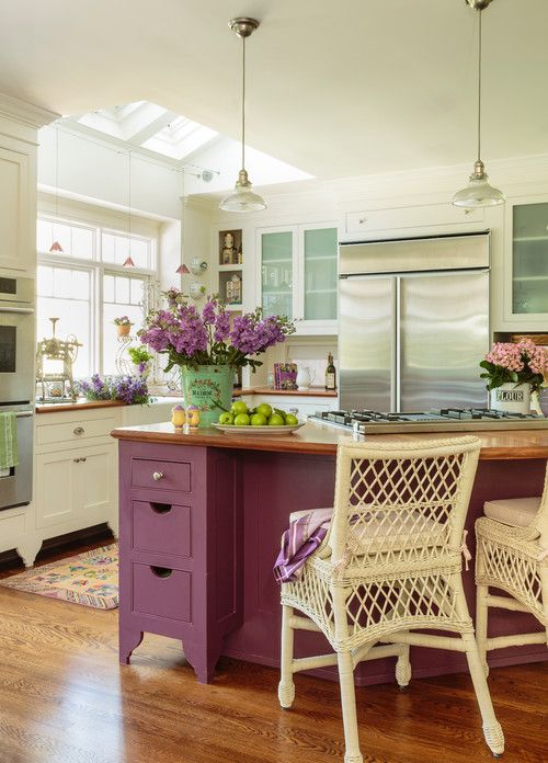 kitchen, wooden floor, white cabinet, white wall, white ceiling, glass window ceiling, purple island with wooden top, white rattan stools, pendant, , windows, cabinet