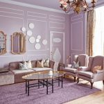Living Room, Wooden Floor, Purple Rug, Pink Chairs, Pink Velvet Sofa, Ovale Coffee Table With Glass Top, Chandelier, Mirror