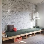 Long Daybed With Wooden Bench, Blue Cushione, Wallppaer, White Pendant, Wooden Floor