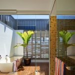 Outdoor Bathroom Ideas Glass Doors Freestanding Tub Plant Wooden Floor Tub Filler Mosaic Wall Tile Towel Holder
