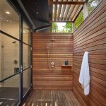 Outdoor Bathroom Ideas Wooden Shower Wall Pergola Wooden Flooring Sliding Glass Doors Towel Hook Shower Head Hand Shower Mounted Shelf