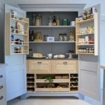 Pantry With Shelves, Drawers In The Middle, Small Drawers And Shelves At The Bottom, Door Shelves
