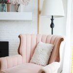 Pink Velvet Shell Chair With Wooden Frame, White Floor Lamp, White Open Brick Wall, Wooden Floor