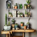 Plants On Floating Shelves And On The Wooden Table Under