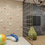 Playroom, Wooden Floor, Climbing Wall, Climbing Rope, Blackboard, TV