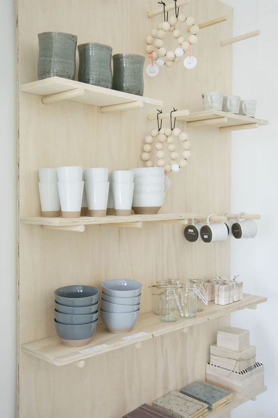 plywood for pegboards with shelves and hooks
