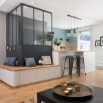 Room Partition, Black Frame And Half Wood, Half Glass, Kitchen With Wooden White Nuance, Wooden Built In Bench Around, Wooden Floor, Black Coffee Table