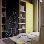 Shelves With Sliding Door, Yellow Door Cupboard, Bedroom With Wooden Floor, Rug