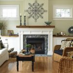 Shiplap Over Fireplace Built In Cabinets River Stone White Windows Wooden Floor Black Cocktail Table Rattan Armchairs White Sofa Glass Fireplace