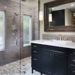 Shower Pan Tiles Frosted Glass Windows Shower Head Glass Doors Dark Blue Vanity Sink Faucet Wall Mirror Mosaic Tiles Pendant Lamps
