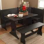 Small Dining Nook With Black Square Table, Black Wooden Bench, Black Wooden Corner Bench
