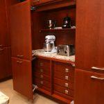 Small Kitchen Appliance Storage Toaster Coffeemaker Wooden Kitchen Cabinets Beige Countertop Wooden Drawers Island Beige Floor