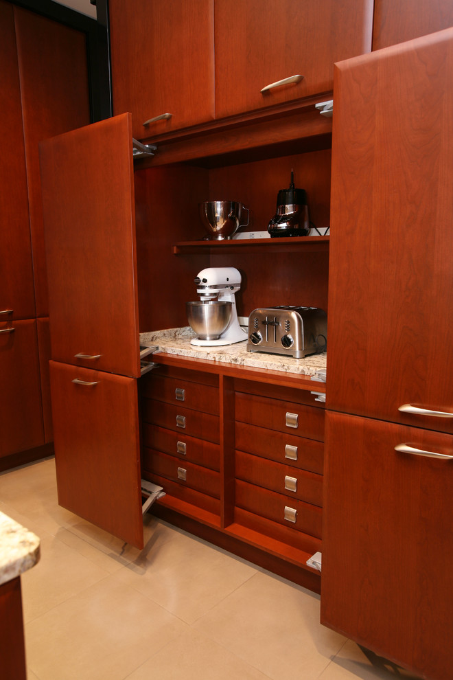 small kitchen appliance storage toaster coffeemaker wooden kitchen cabinets beige countertop wooden drawers island beige floor