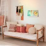 Small Thin Wooden Daybed Platform With Rest, White Cushion, Pillows, White Rug