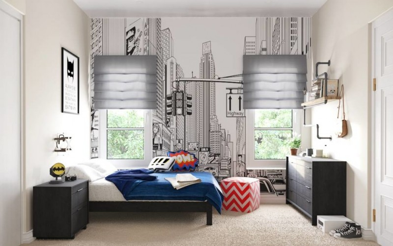 superhero room wall mural white wall black and white superhero print black dresser black nightstand wall sconce wall mounted shelf stool window grey shades