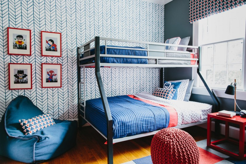 superhero room wallpaper bunkbed blue bedding blue eban bag super hero prints white window shade table lamp red table pillows