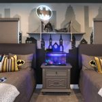 Superhero Room Wallpaper Grey Nightstand Aquarium Bridge Shelf Wall Sconce Grey Bedding Superhero Pillows Batman Lighting