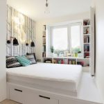 Teen Bedroom, White Wide Platform, White Shelves Along Windows Shape, Wooden Floor, Storage Under The Platform