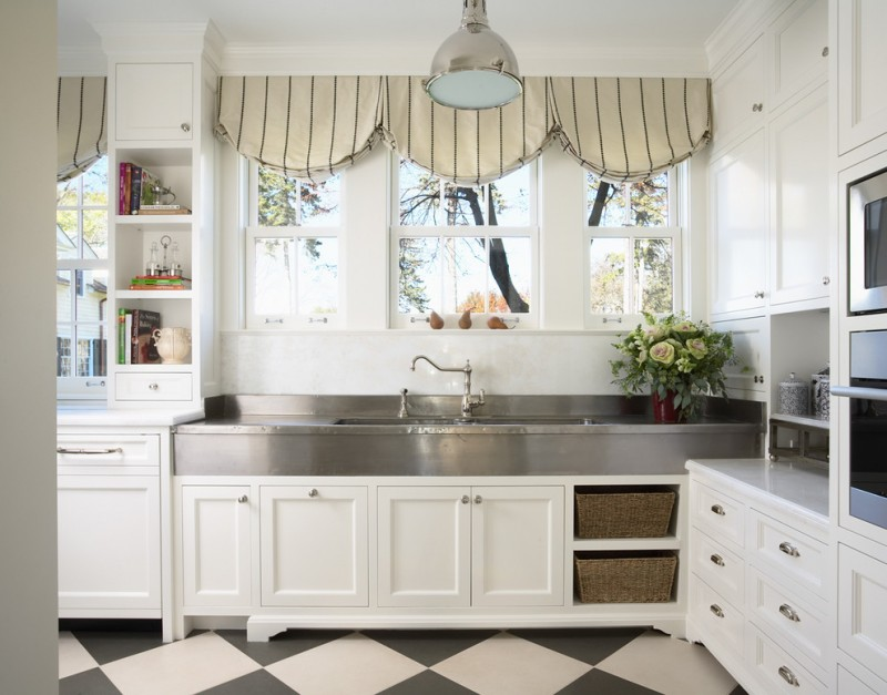 the sink cream stripe valances white glass windows stainless steel countertop white cabinet white drawers bookshelves black and white tile