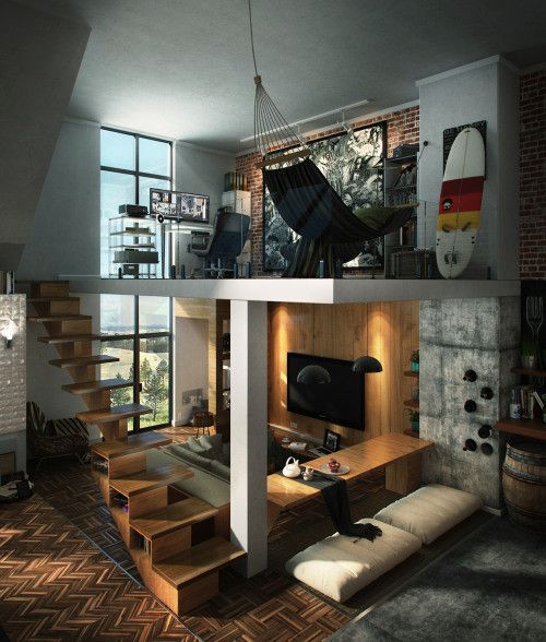 two level space, vinyl floor, grey wall, living room on the ground level, study and hammock on the upper level