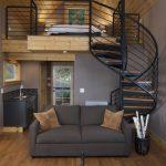 Two Levels Space, Wooden Floor, Grey Sofa, Sink, Bathroom On The Ground Floor, Bedroom On The Upper Floor