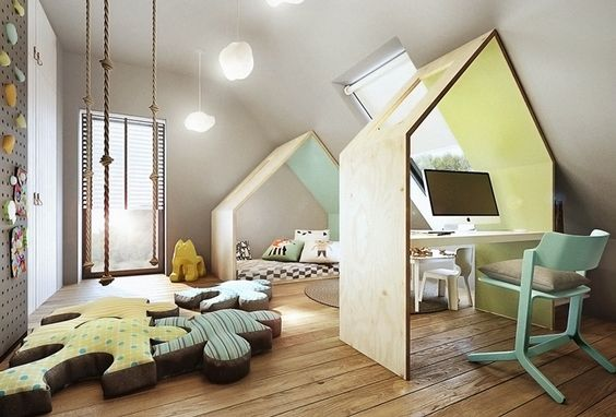 two wooden houses for bed and study, wooden floor, grey wall, pegboards, ropes