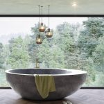 Unique Grey Bathtub, Wooden Chevron Floor, Wide Glass Window, Pendant