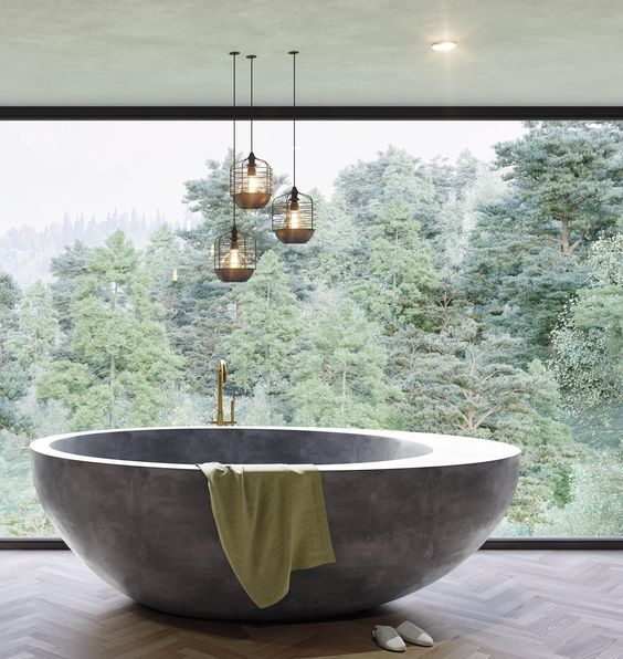unique grey bathtub, wooden chevron floor, wide glass window, pendant