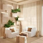 Vertical Garden On The Wall In Livingroom With Dominant Wooden Furniture