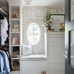 Walking Closet, White Floor, White Wallpaper, White Cabinet With Drawers, Nook Near The Window, Shelves, Rail To Hang