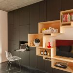 Wall Partition With Black Cabinet, Brown Wooden Shelves On C Chapes, Folding, Black Floor