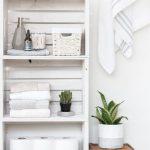 White Wooden Crate For Floating Shelves For Bathroom, Rattan Basket