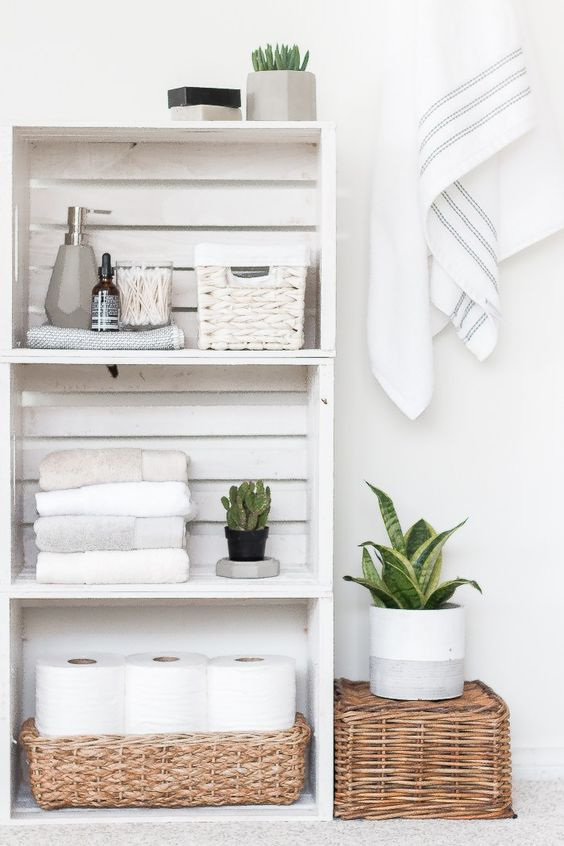 white wooden crate for floating shelves for bathroom, rattan basket