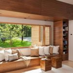 Window Seat, Brown Wooden Bench, Wall, Shelves, Wooden Stools, Pillows, Large Windows