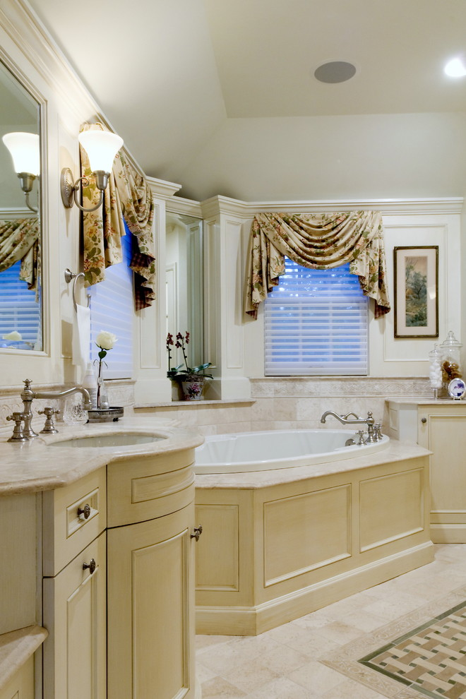 window swag valances built in tub beige vanity window shutter wall mirror wall sconce faucet windows beige floor tile faucet towel ring