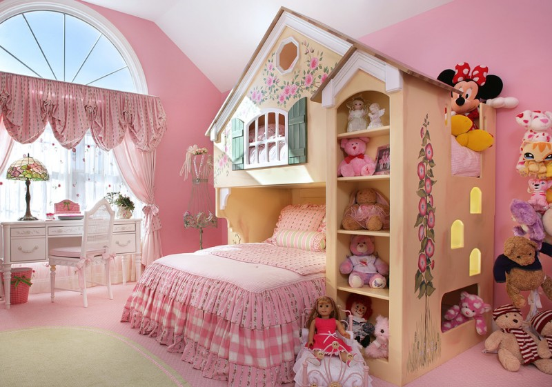window swag valances pink walls pink bedding bunk bed pink floor white shag shelves windows white chair white desk table lamp pink curtains