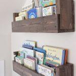 Woode Floating Bookcase In Nursery