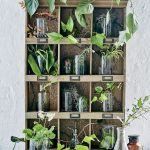 Wooden Boxes For Plants With Laboratory Glasses