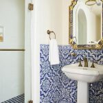 02 Blue Patterned Tiles On The Wall, White Sink, White Wall, Glass Partition, Blue Square Tiles On The Shower Floor