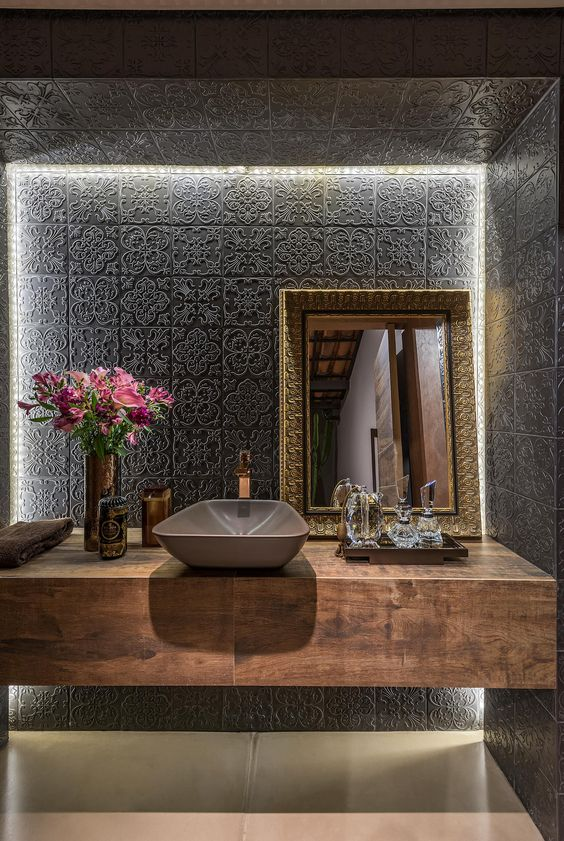 03 black embossed patterned tiles, white LED lights, mirror, wooden floating vanity, grey sink