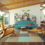 Living Room, Wooden Floor, Soft Colorful Rug, Yelow Chair, Yellow Lounge Chair, Blue Sofa, White Wall, Wooden Ceiling, Wooden Shelves