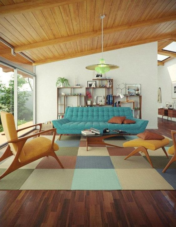 08 living room, wooden floor, soft colorful rug, yelow chair, yellow lounge chair, blue sofa, white wall, wooden ceiling, wooden shelves