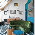 Living Room, Blue White Rug, Green Velvet Sofa, Round Wooden Coffee Table, White Wall, Wooden Cabinet, Black Chair, Blue Partition, Sloping Glass Ceiling