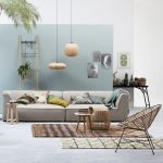 10 Living Room, Grey Floor, White Blue Wall, Grey Sofa, Rattan Chair, Rattan Ottoman, Round Low Side Table, Rattan Pendants