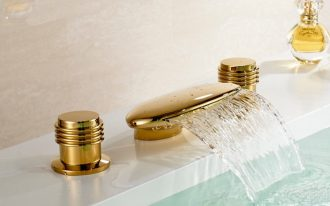 2 deck mounted golden brass waterfall bathroom faucet