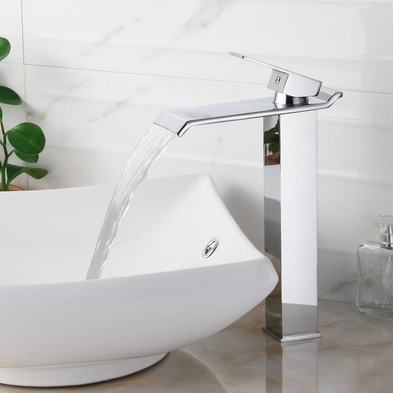 4 modern chrome finish widespread waterfall bath faucet