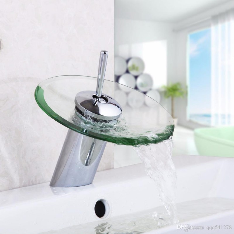 5 rounded glass waterfall faucet for bathroom